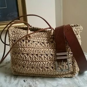 Handbags - Straw, Leather & Cotton Bag